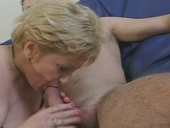Blonde grandma gets a young cock to suck and fuck