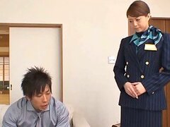 Asian Stewardess Works Magic With Her Feet In Pantyhose and Mouth
