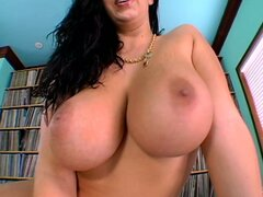 Insatiable whore Gianna blows big white dick and jiggles her massive tits