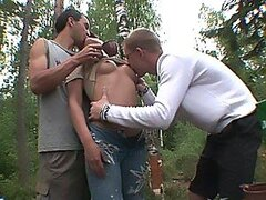 Two bold buddies take their hot classmate to the woods to double team her