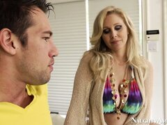 Alluring babe with enchanting butt Julia Ann seduces young buddy