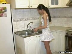 Anal sex in kitchen