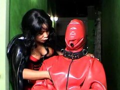 Cock torture with rubber wrapped guy