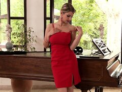 Dazzling blonde drops her sexy red dress to reveal her wonderful huge tits
