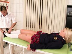 Schoolgirl ends up giving footjob to her doctor and riding his cock