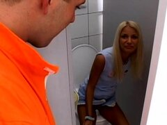 Blowjob toilet by sexy Eve Jordan