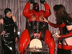 Submissive Fat Guy Gets His Balls and Nipples Tortured In a Latex Suit