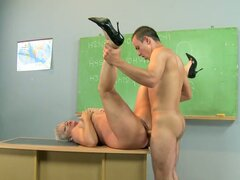 Desperate Guy Fucking the Old Teacher to Get Grades