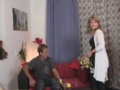 Two fellows pick up mature and bang her hard