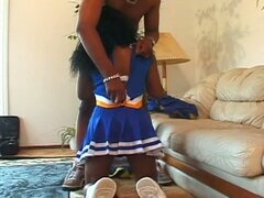Ebony cheerleaders drilled by an another black hard dick...