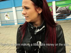 Redheaded European chick gets offered a chance to make some instant cash