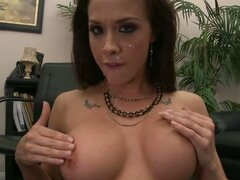 Chanel Preston rubbing the cum on busty boobs