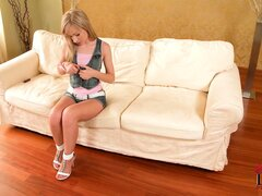 Petite little blonde sweetie strips and gives a hot masturbation show