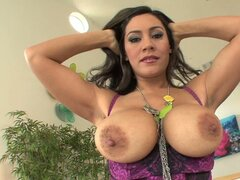 Raylene lusty chick exposing her biggie size boobs