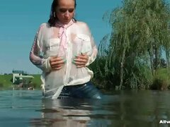 Gina can totally satisfy her wet fetish all by her lonesome, taking a sensual dip in the water and getting off more and more as her clothes cling to her and her nipples start poking through her blouse!