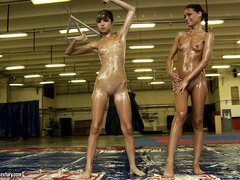 Sophie Lynx and Doris Ivy are up for some sexy oily wrestling