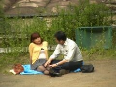 Japanese Couple Having Sex Outdoors.