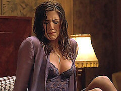 Movie scene with Jennifer Aniston taking shower and drying her body with towel
