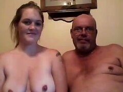 Curvy girl rides old guy