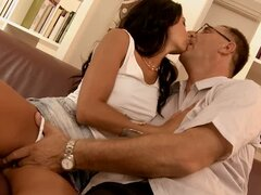 Old Bastard Fucks A Brunette Hottie