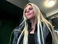 Real buxom slut Katka is ready to give a blowjob for money