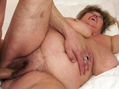 Fat granny Margitta gets her pussy toyed and fucked from behind