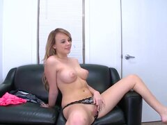 Alexis Adams lies back on the casting couch and uses a large, flesh colored, lifelike dildo on her tight teen pussy. She seems to enjoy it, too. Perhaps a natural born performer?