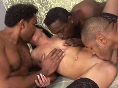 Lustful Brunette in Sexy Lingerie Fucked by Three Black Cocks