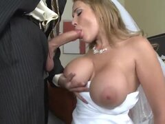 Her groom is absolutely drunk However sexy bride Alanah Rae does no want to spoil te moment of the wedding night...