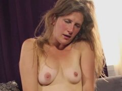 Shoshannah fingers her hairy pussy for an orgasm