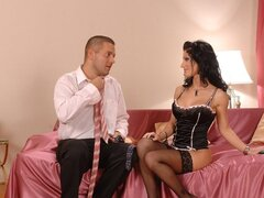 Beautiful brunette Nikki Rider gets all dressed up to get nasty on some cock.