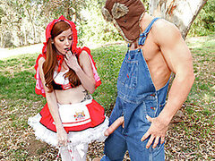 Little Red Riding Whore wanders through the forest, meeting a couple of sexy forest friends along the way. They warn her of the dangerous big bad wolf lurking through the forest up ahead. She has no fear and continues on her trek. The big bad wolf springs