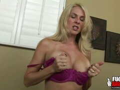 Hot babe Angela Attison dirty talks and imagines a huge cock gagging her and fucking her throat.