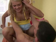 Young blonde teen fucked on the bed