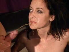 submissive sex slave gets cum in mouth after toyed with