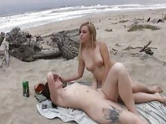 Two naked babes beach