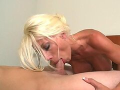 Horny Busty Blonde Cougar Sucking and Enjoying a Dick with Her Wet Snatch