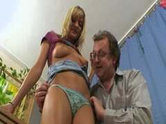 Horny student rides her old teacher
