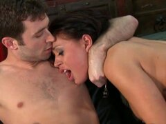Hot babe Eva Angelina takes it from behind and in the mouth
