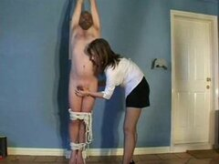 Handjob while suspended
