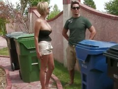 A milf Carly Parker carries the trash out and gets into a scrape.