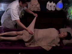 Hot MILF Nishi Azabu in wet clothes gets pounded by a masseur