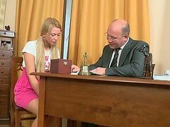 Dazzling Blonde Teen Having Sex with an Old Man in the Office