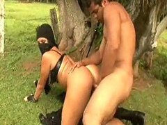 A crazy sex session in the park with an Arabian couple getting freaky and people looking on