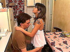 Breakfast Fuck in the Kitchen with Gorgeous Brunette Teen in Cute Dress