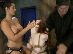 Redhead & Brunette Slags Are Bound, Gagged & Hole Dominated