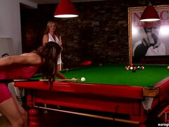 Every guys fantasy come true here! Not only do you get TWO beautiful babes with outlandishly gorgeous bodies built for cock injections, but you get them in a bar, on a pool table!