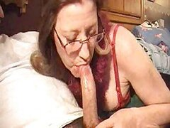 Wife in glasses deepthroats his dong