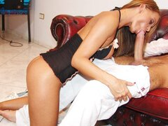 Sexy temptress Cristina Bella gives an excellent blowjob in this hot scene.
