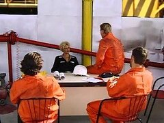 Smoking Hot Jail Warden Gets Gangbanged By Horny Convicts